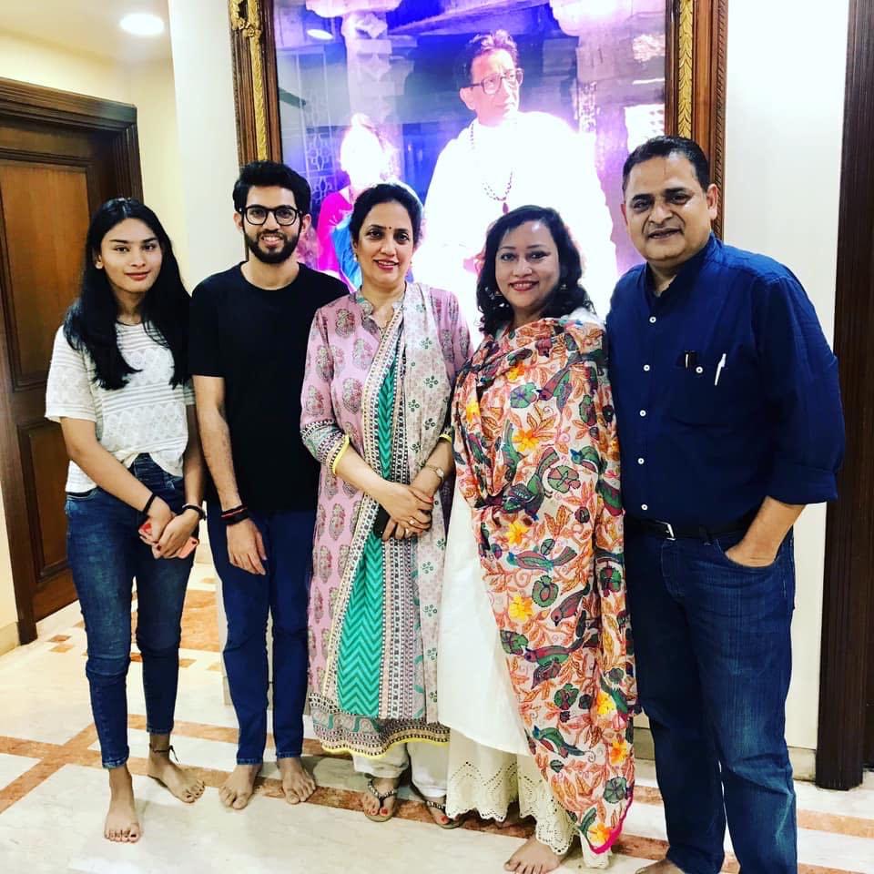 With Mrs. Rashmi Uddhav Thackeray and Aditya Thackeray at their residence Matoshri, Mumbai